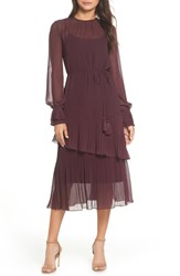 Chelsea 28 Chelsea28 Pleat Detail Midi Dress Burgundy Stem