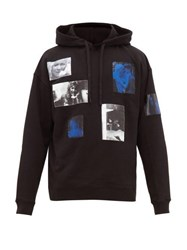 Raf Simons Picture Print Cotton Jersey Hooded Sweatshirt Black