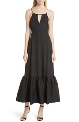 Tracy Reese Tiered Halter Keyhole Dress Black