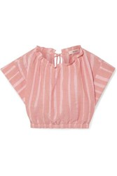 Lemlem Taytu Cropped Striped Cotton Blend Gauze Top Pink