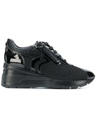 Geox Woven Lace Up Sneakers Black