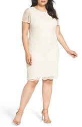 Pisarro Nights Plus Size Women's Web Motif Beaded Sheath Dress