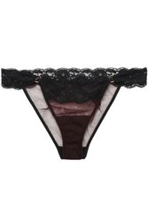 Mimi Holliday Low Rise Lace Trimmed Tulle Briefs Black