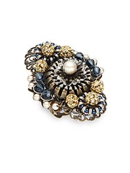 Miriam Haskell Faux Pearl Cocktail Ring Navy