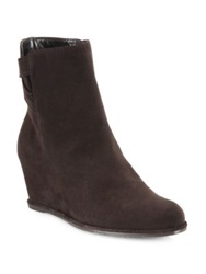 Stuart Weitzman Fitness Suede Wedge Booties Brown