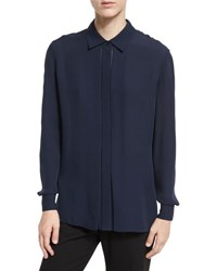 Vince Long Sleeve Silk Blouse Coastal Blue