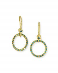 Dominique Cohen 18K Yellow Gold And Blue Diamond Round Drop Earrings