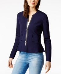 Tommy Hilfiger Peplum Sweater Jacket Only At Macy's Navy