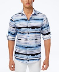 Inc International Concepts Men's Distorted Wave Print Shirt Only At Macy's Blue Combo