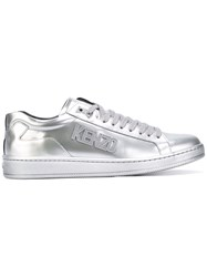 Kenzo Low Top Logo Sneakers Men Leather Rubber 42 Metallic