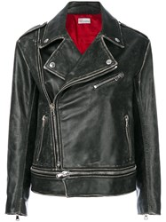 Red Valentino Distressed Moto Jacket Women Cotton Calf Leather Viscose 38 Black