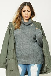 Forever 21 Plus Size Open Knit Sweater Charcoal Heather