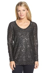 Women's Dknyc Sequin Tunic Pullover Black Combo