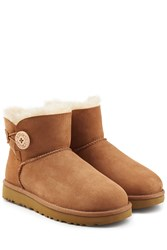 Ugg Australia Shearling Lined Suede Boots With Button Brown