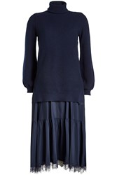 No.21 Dress With Fleece Wool Pullover And Satin Skirt