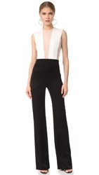Galvan London Tuxedo Plunge Jumpsuit Black White