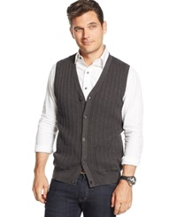 Tasso Elba Big And Tall Cable Front Sweater Vest Only At Macy's Charcoal