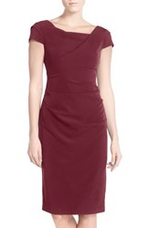 Adrianna Papell Women's Ruched Matte Stretch Crepe Sheath Dress
