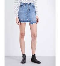 Rag And Bone Dive Eyelet Embellished Denim Mini Skirt Willow Eylt