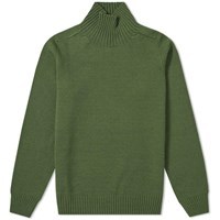 Mhl By Margaret Howell Saddle Sleeve Roll Neck Knit Green