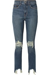 L'agence The High Line Cropped Distressed Skinny Jeans Mid Denim