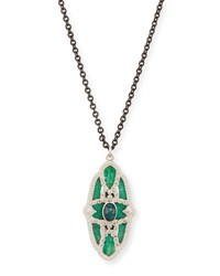 Armenta New World Teal Mosaic And Opal Necklace With Diamonds Black Pattern