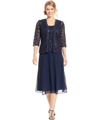 R And M Richards Sequined Lace Chiffon Dress And Jacket Navy