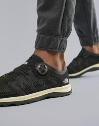 The North Face Litewave Flow Boa System No Lace Tie Sneakers In Black White Black