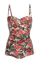 Dolce And Gabbana Floral One Piece Bathing Suit Red
