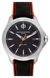 Baume And Mercier Clifton Leather Strap Watch 42Mm Black Black