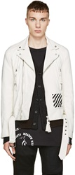 Off White Ivory Leather Biker Jacket