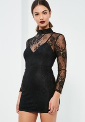 Missguided Petite Exclusive Black Floral Lace Dress