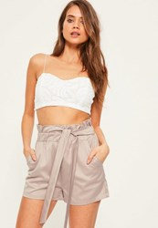 Missguided Grey Elasticated Tie Waist Satin Shorts