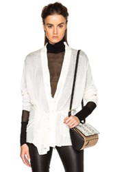 Ann Demeulemeester Tie Back Cardigan In White