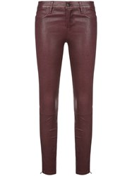 J Brand Wet Look Skinny Trousers Pink And Purple