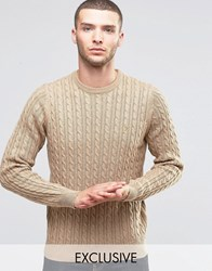 Farah Jumper With Cable Knit Exclusive Camel Brown