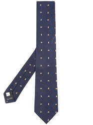 Kent And Curwen Embroidered Tie Wool Silk Blue