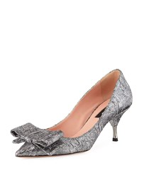 Rochas Miki Brocade Pump With Bow Silver
