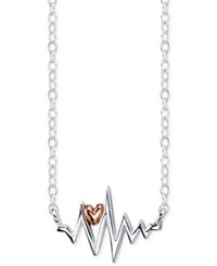 Unwritten Heart Beat Pendant Necklace In Sterling Silver And 18K Rose Gold