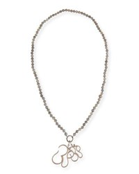 Sheryl Lowe Long Knotted Labradorite Necklace With Diamond Om Pendants