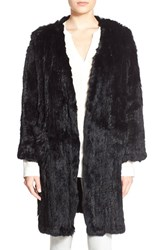 Women's Arielle Genuine Rabbit Fur Long Coat Black