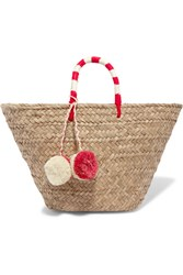 Kayu St Tropez Pompom Embellished Embroidered Woven Straw Tote Beige
