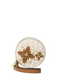 Michael Michael Kors Flower Pouch Small Coin Case Vanilla