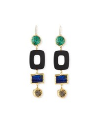 Nest Turquoise And Black Horn Statement Earrings