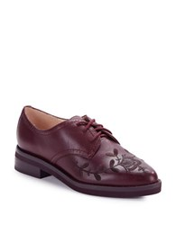 French Connection Maci Embroidered Leather Oxfords Zinfandel