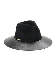 Vince Camuto Wide Brim Faux Leather And Wool Hat Black