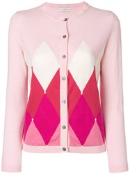 Ballantyne Argyle Knit Cardigan Pink And Purple