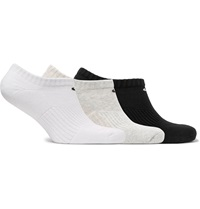 Nike Three Pack No Show Cushioned Cotton Blend Socks Gray