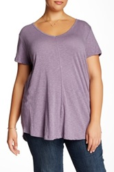14Th And Union V Neck Short Sleeve Tee Plus Size Purple