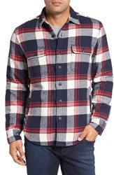 Nordstrom Men's Men's Shop Thermal Lined Shirt Jacket Red Chili Navy Cream Plaid